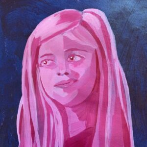 Day 22 - Pink monotone acrylic portrait on a blue background