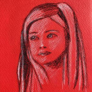 Day 27 - Black and white charcoal drawing on red paper
