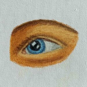 Day 28 - Oil pastel drawing of an eye on canvas