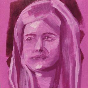 Day 29 - Pink monotone acrylic portrait painting