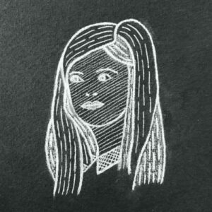 Day 30 - White charcoal line drawing on black paper