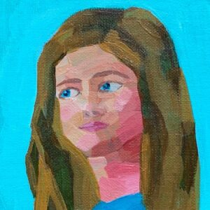 Day 37 - Acrylic portrait painting with a blue background