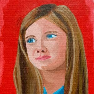 Day 38 - Acrylic portrait painting with a red background