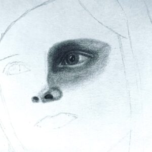 Day 43 - Graphite drawing of an eye and nose
