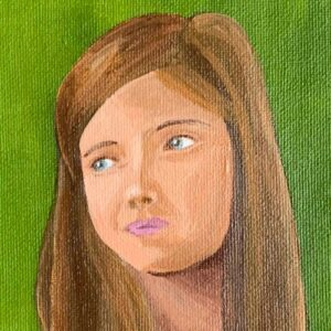 Day 46 - Acrylic portrait painting on a green background
