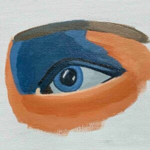 Day 47 - Acrylic painting of an eye in Ultramarine and Burnt Sienna