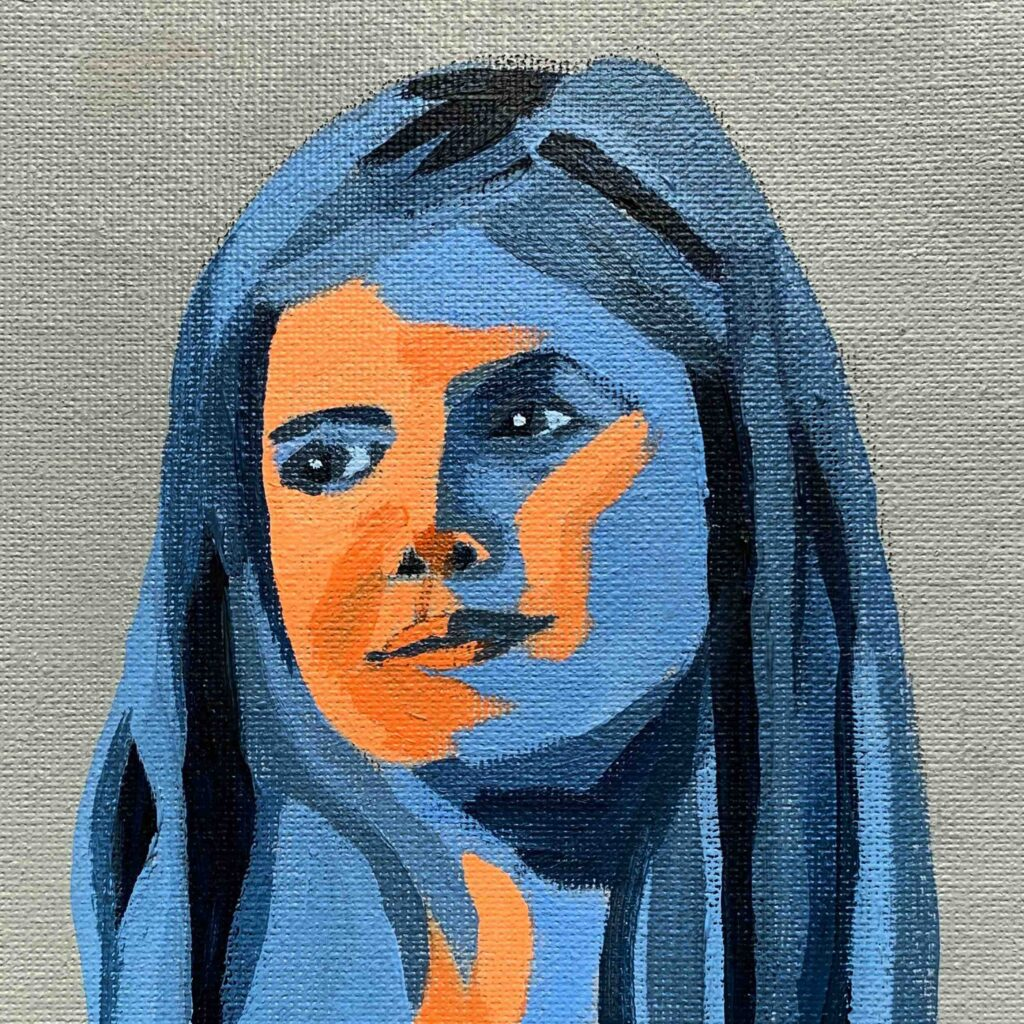 Day 48 - Acrylic portrait painting in Ultramarine and Burnt Sienna
