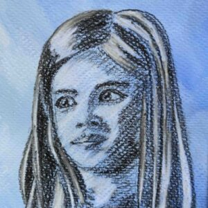Day 49 - Charcoal drawing on a blue acrylic background