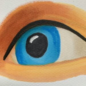 Day 53 - Promarker drawing of an eye on watercolour paper