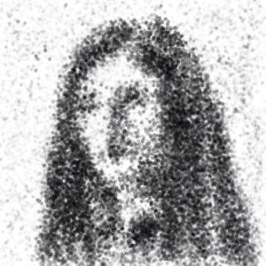 Day 54 - Digital portrait made of a monotone hexagon brush