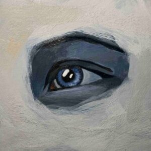Day 57 - Acrylic painting of an eye with textured background
