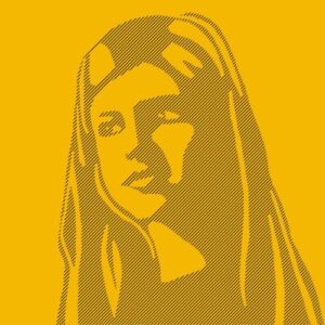 Day 62 - Digital line drawing portrait on a yellow background