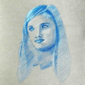 Day 65 - Blue monotone coloured pencil drawing