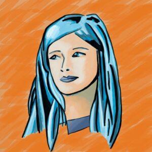 Day 67 - Digital drawing based on the promarker pen portrait in blue