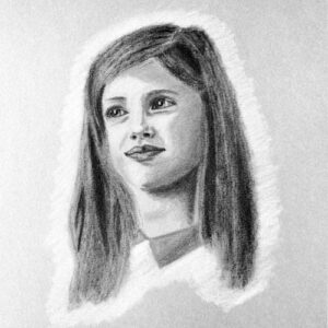 Day 68 - Charcoal portrait drawing with a white outline
