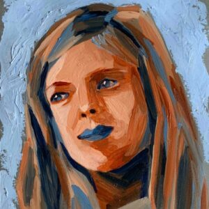 Day 70 - Limited palette acrylic portrait painting in Ultramarine and Burnt Sienna
