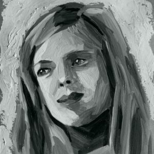 Day 71 - Digital monotone portrait from an acrylic portrait painting