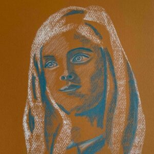 Day 72 - Blue and white pastel portrait