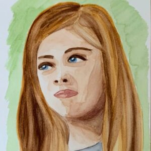 Day 74 - Watercolour portrait with a green background