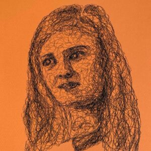 Day 75 - Charcoal squiggle drawing on orange paper