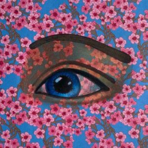 Day 86 - Promarker drawing of an eye on origami paper