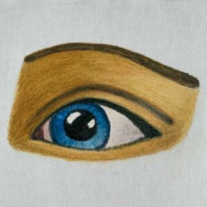 Day 88 - Drawing of an eye with promarkers and coloured pencils