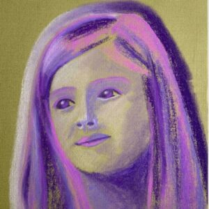 Day 89 - Purple pastel portrait drawing on green paper