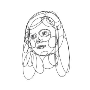 Day 92 - Monotone digital portrait drawing made with ovals