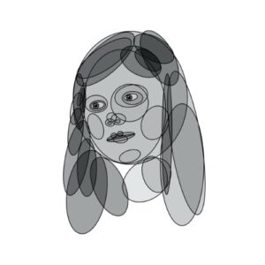 Day 93 - Monotone digital portrait drawing made with filled transparent ovals