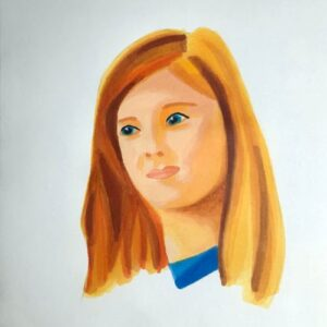 Day 96 - Promarker portrait with a blue collar on promarker paper