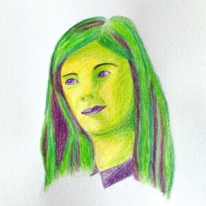 Day 98 - Green and purple coloured pencil portrait drawing